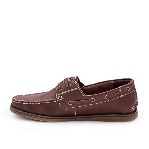 Zerimar. Chaussures nautiques. Fabriqué en cuir de haute qualité. Semelle antidérapante. Marron