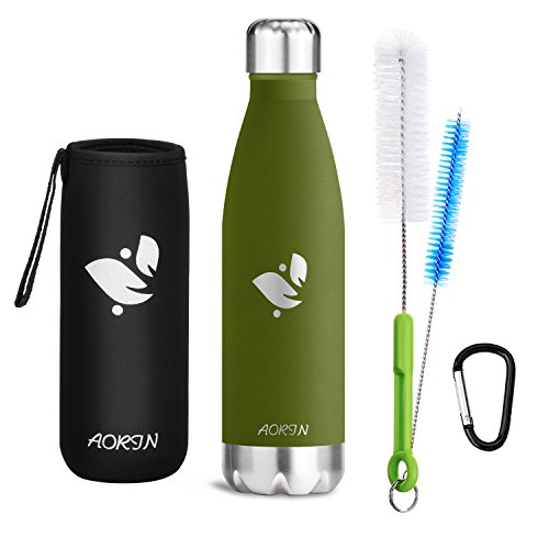Aorin Vakuum-Isolierte Trinkflasche aus Hochwertigem Edelstahl - 24 Std Kühlen & 12 Std Warmhalten Pulverlackierung Kratzfestigkeit Leicht zu reinigen. (Forest green-750ml)