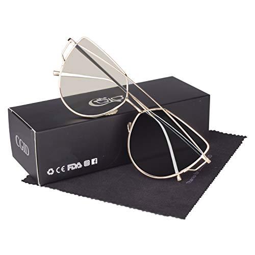 CGID Mode Polarisierte Katzenaugen Sonnenbrille For Damen UV400 reflektierenden Spiegel,Gold Transparent