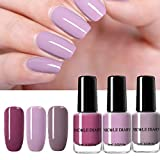 NICOLE DIARY Nagellack Nude Series Peel Off Nailart Lack Pure Color Shining Liquid Maniküre Nagellack 6ml (Packung mit 3 Flaschen)