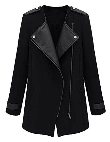 MEXI Cappotto caldo in lana, sottile e lungo, antivento, da donna nero XL