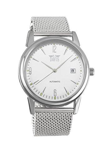 Davis 1900MB - Reloj para hombre, retro, automático, esfera de acero, con fecha y correa de malla de acero mesh