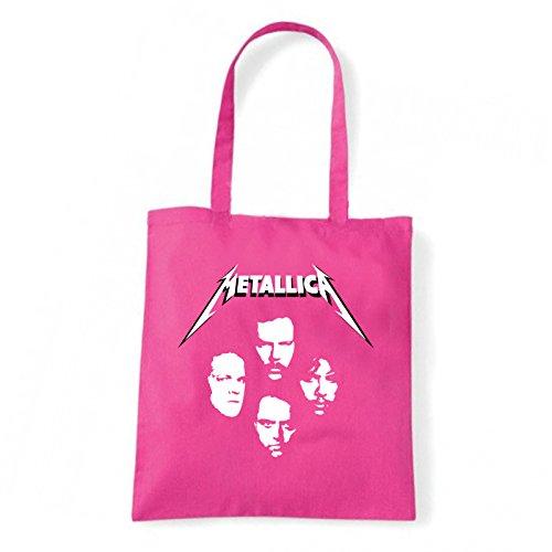 Art T-shirt, Borsa Shoulder Metallica Faces, Shopper, Mare Fucsia