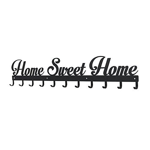 Perchero de pared Home sweet Home tamaño Extra grande 11ganchos montado en la pared Negro w: 80cm accesorios para el hogar por Sema Show diseño