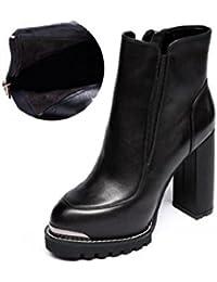Testa rotonda alla moda in pelle tacco alto alla caviglia stivali impermeabile elastico da donna Martin stivali...