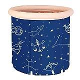 Tragbare Blaue aufblasbare Badewanne, Erwachsenes Dickes faltendes Plastikbad mit weichem Kissen-Zentralsitz, runde aufblasbare Wanne, Badewanne für Duschkabine einweichen, aufblasbare Flexible