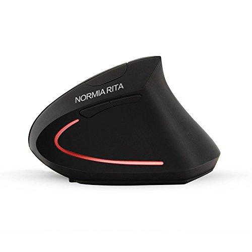 NORMIA RITA Drahtlose Vertikale Maus 2,4 GHz Wiederaufladbare Ergonomische Optische Maus mit 3 DPI Levels Seitentasten, erleben Sie Handgelenk Schmerzen