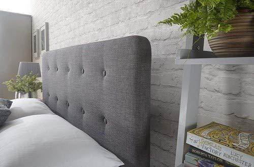 Home Source - Modern High Headboard Buttoned Grey Fabric Light Oak Effect Leg Double 4ft 6 Bed