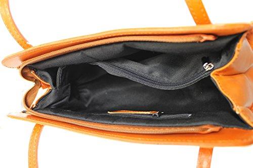 CTM Schultertasche Damen Handtasche Damen, 30x18x11cm, echtes Leder 100% Made in Italy Leder