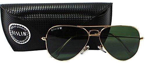 AISLIN® Non-Breakable Aviator Unisex Sunglasses (G-15 Green Lens)(AS-3025DH-2-GLD)