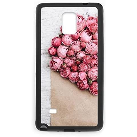 samsung galaxy note4 Case,High grade pink rose pattern Fashion Trend Durable Hard Plastic Scratch-Proof Protective Case,Black