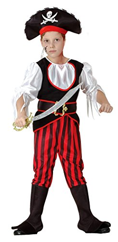 Magicoo Piratenkapitän - Piraten Kostüm Kinder Jungen rot-schwarz-weiß - Piratenkostüm Kind - Seeräuber (134/140)