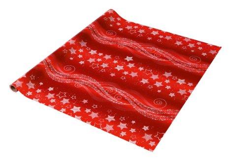 SIGEL GP113 Weihnachts-Geschenkpapier rot/silber, 1 Rolle 5m x 70cm