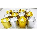 Shree Technesh Diwali Home Décor LED Tea Light Candles, Pack Of 12 Pcs (Gold & Silver)