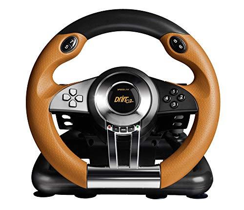 Speedlink Drift O.Z. Lenkrad für PC (Schaltknauf, Gas- und Bremspedale, XInput und DirectInput, Vibrationsfunktion, einstellbare Lenk-Empfindlichkeit) (Zertifiziert und Generalüberholt)