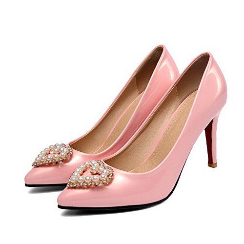 Ziehen Stiletto Schuhe Zehe Pink Rein Lackleder Pumps AgooLar Damen Auf Spitz qZ55U6
