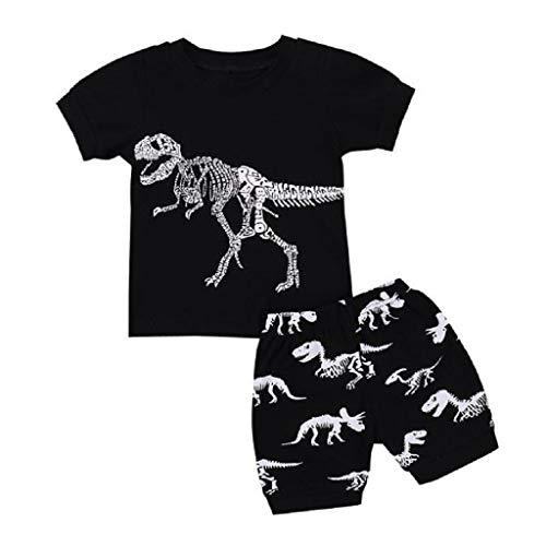 feiXIANG Babykleidung Set Baby Jungen Mädchen Cartoon Dinosaurier Drucken Tops Shorts Outfits 2-7 Jahre (Schwarz,7 Jahre) Faux Silk Coat