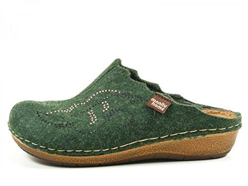 Manitu 330143 Pantofole Donna Grün