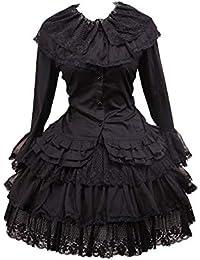 Antaina Blusa de Lolita Gótica de Encaje en Algodón Negra y Falda de Lolita  de Encaje 5a0294e4bae