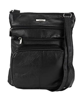 Ladies / Womens Super Soft Leather Shoulder / Cross Body Bag with Multiple Pockets (Black)
