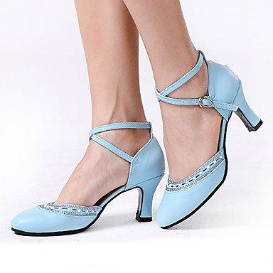 Chaussures De Danse-non-personnalisable-womens-latin-american Dancing-carré-cuir-noir / Bleu / Rouge / Fuchsia Noir