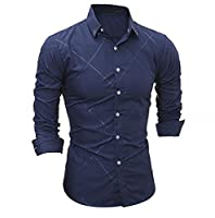 Tootlessly Men's Classic Dark Grain Long Sleeve Button Down Shirt Navy Blue L