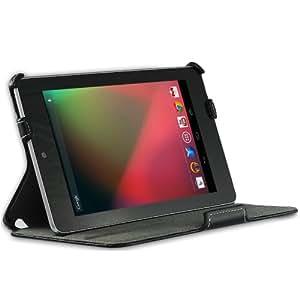 EasyAcc® PU Leder Tasche Smart Cover Case für Google Nexus 7 mit Multi Ständer / Auto Sleep Wake (PU Leder, Schwarz, UltraSlim) (Nicht für das neue Google Nexus 7 (2013) geeignet)