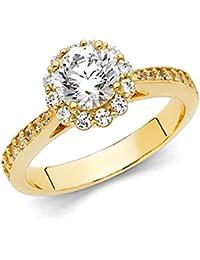 14 K sólido Amarillo Dorado de corte redondo de Halo anillo de Circonita con piedras laterales