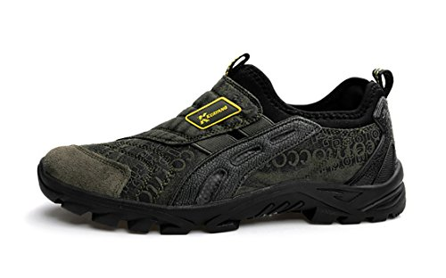 Kotzeb Scarpe da Corsa Slip on Uomo Sportive Sneakers Casual Running Calzature da Passeggio Respirabile Nero Marrone Verde Grigio 39-44 Verde