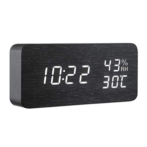 Criacr LED Digitaler Wecker, Holz Wecker Uhr Multifunktions-Wecker mit LED-Licht, Smart-Voice-aktiviert, Display-Zeit, Datum, Innentemperatur und Luftfeuchtigkeit, USB/Batterie betrieben (schwarz)