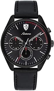 ساعة جلدية سوداء للرجال بمينا اسود من سكودريا فيراري - 830503