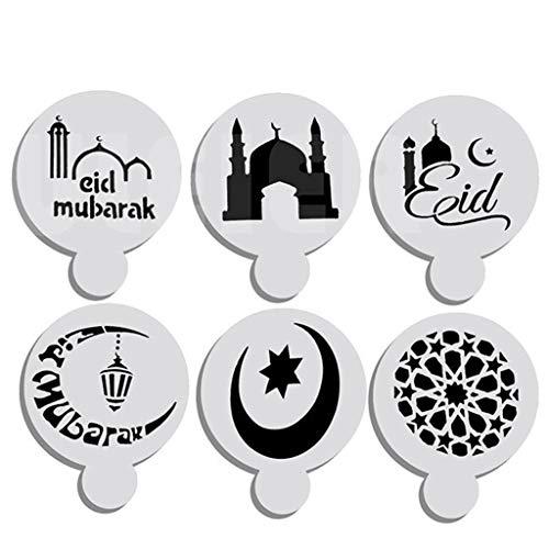 LHWY 6 StüCke Ramadan Mubarak Festival Kennzeichnung Kuchen Top Schablone Dekorieren Sternform Mond Weiß (Katze Im Hut-kuchen)