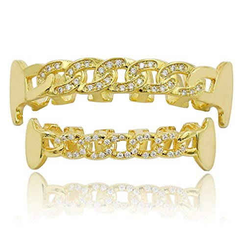 L&H Braces Hip Hop Gold Teeth Barbecue Set Hiphop Hollow Micro Inlaid Zircon Festive BBQ Fashion Jewelry Painted ()