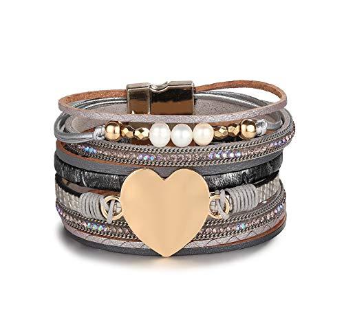 Yadoca Bracelet Cuir Femmes Charms Arbre Vie Multirang Bracelets pour Femmes Fille Bracelet de Vie Perle Maman Cadeau Marron Bleu Gris