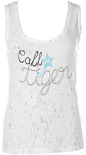 FORNARINA Damen Top TankTop Shirt Rundhals Stretch -Call me Tiger- Offwhite