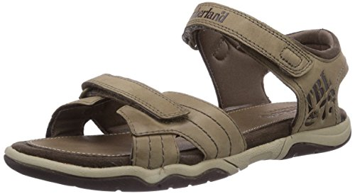 Timberland Unisex-Kinder Oak Bluffs Leather 2Strap Sandalen, Grau (Greige), 24 EU