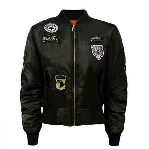 Damen Mädchen Gefechtsabzeichen Army Air Force Bomber Jacket Jacken EUR Größe 36-40 (UK 12 - EUR 40, Pastell Rosa)