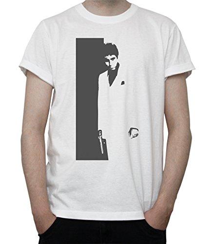 Scarface - Tony Montana / Black & White Artwork Mens T-Shirt Blanc