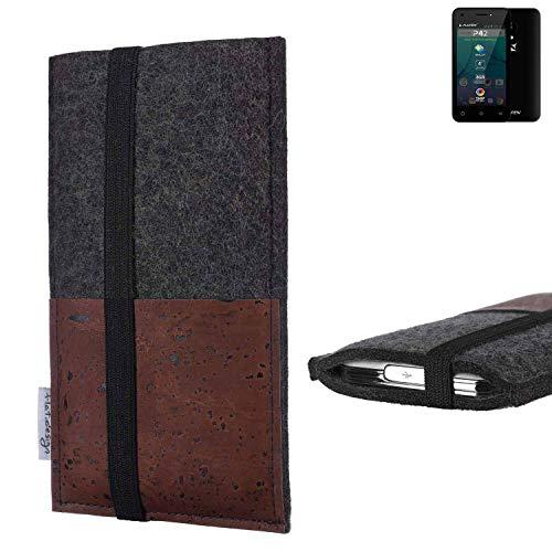 flat.design Handy Hülle Sintra für Allview P42 Handytasche Filz Tasche Schutz Kartenfach Case braun Kork