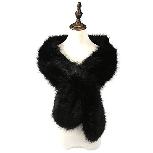 women-ladies-winter-faux-fur-scarf-neck-warmer-wrap-collar-shawl-stole-long-black