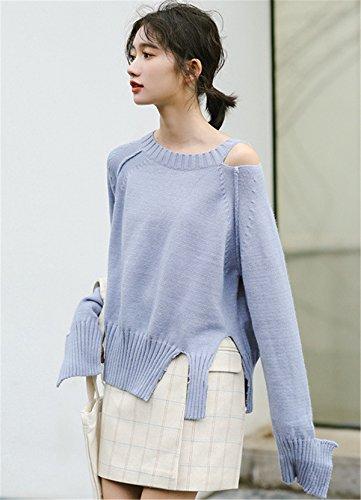 JOTHIN spalle scoperte Maglioni Strappati Irregolare Pullover Eleganti Manica lunga Maglieria Invernali Sweater Donna Blu