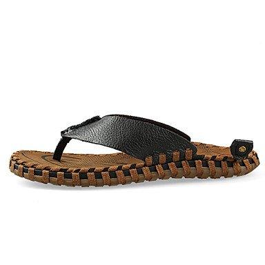 Sandales d'été hommes décontractées Chaussons en cuir noir / Kaki / marron Black