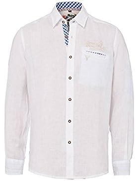 Krüger Herren Trachtenhemd Leinen Weiß-Blau mit Applikationen 001758