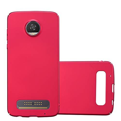 Cadorabo Hülle für Motorola Moto Z2 Play - Hülle in Metall ROT – Hardcase Handyhülle im Matt Metal Design - Schutzhülle Bumper Back Case Cover