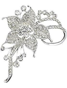 Wunderschöne Chrystal Braut Blumen Strass Brosche Strass Steine Silber (BR057)