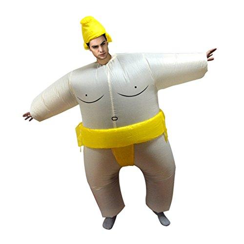 Triseaman unisexo adulto de Halloween hinchable ropa divertido fantasía hinchable cosplay Sumo Amarillo