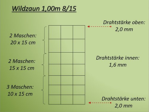 50m Wildzaun Forstzaun Weidezaun Drahtzaun Knotengeflecht 100/8/15 L und 1 Drahtspanner Gratis - 3