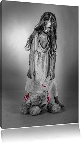 (gruseliges Mädchen mit Teddy schwarz/weiß Format: 60x40 auf Leinwand, XXL riesige Bilder fertig gerahmt mit Keilrahmen, Kunstdruck auf Wandbild mit Rahmen, günstiger als Gemälde oder Ölbild, kein Poster oder Plakat)