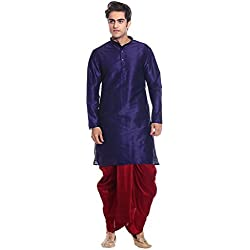 MAG Men's Dupioni Silk Kurta and Dhoti - RG-1826_Navy Blue and Red_40