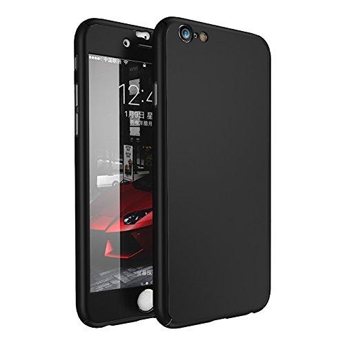 Anyos iPhone 6 6s Plus Hülle, 2 in 1 Ganzkörperabdeckung mit gehärteter Displayschutzfolie, iPhone 6 6s Plus 5.5 inch, schwarz (Easy Access Kostüm)
